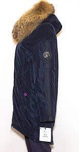 Парка женская зима VISDEER 827 с мехом (синяя)