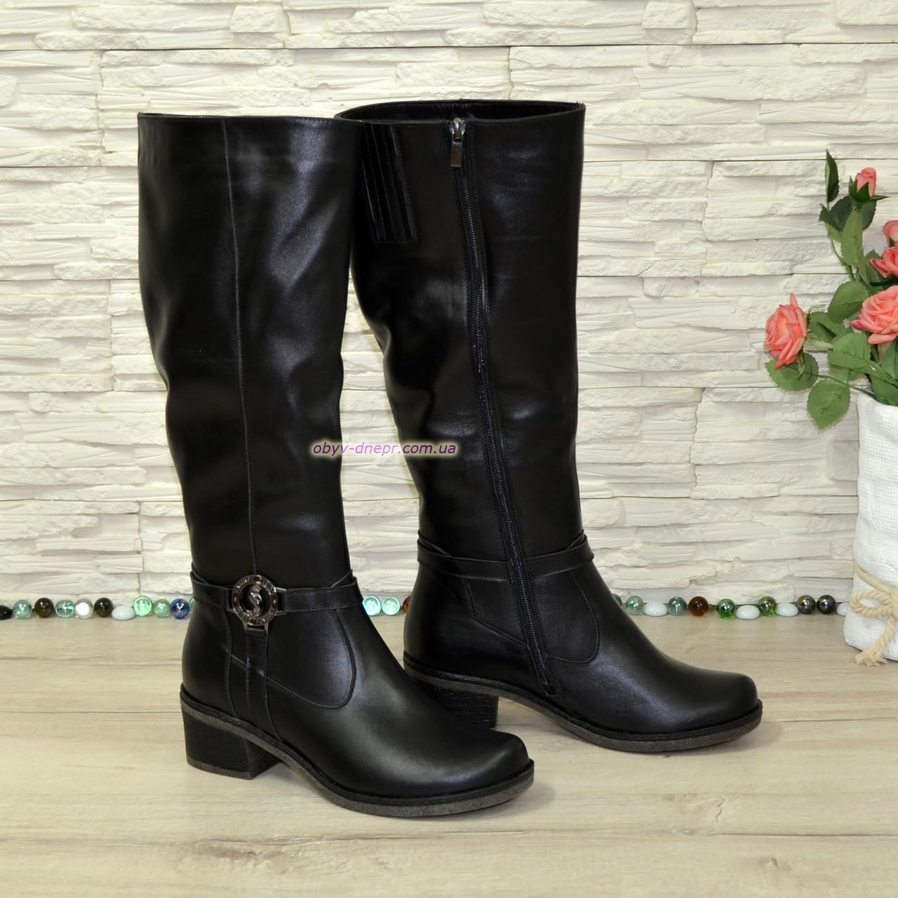 Сапоги кожаные зимние на устойчивом каблуке
