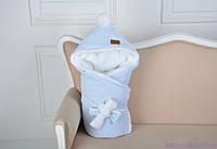 Велюровый конверт для новорожденного зимний, на махре, голубой меланж, фото 1
