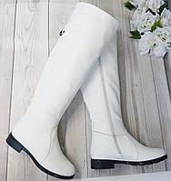 Белые кожаные женске ботфорты от производителя, фото 1