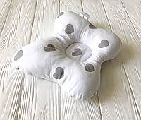 """Ортопедическая подушка """"Бабочка"""" Серое сердце"""