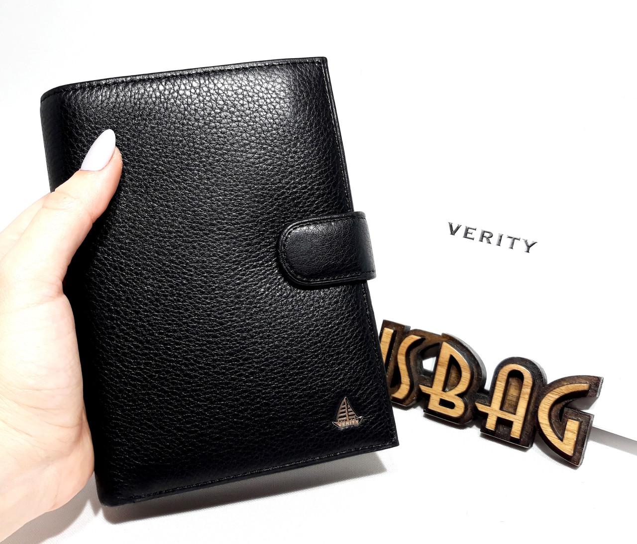 5b16a090d13b Многофункциональное ,большое мужское портмоне Verity из натуральной кожи  Черного цвета на кнопке