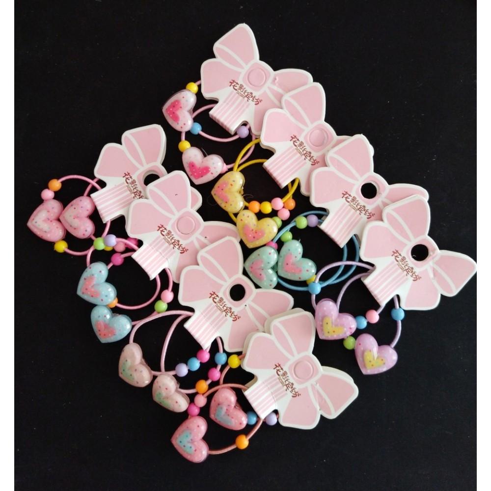 """Резинки для волос детские """"Сердечки"""" набор 10шт. ассорти цветов"""