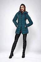Зимняя женская молодежная куртка. Код К-138.82-37-19. Цвет изумрудный.