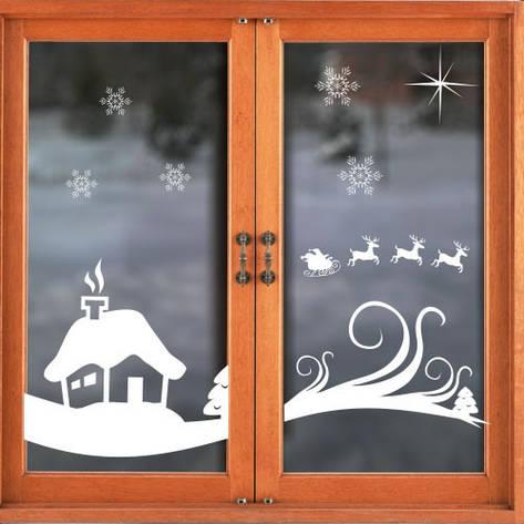 """Новогодняя интерьерная наклейка """"Зимний дом"""", фото 2"""