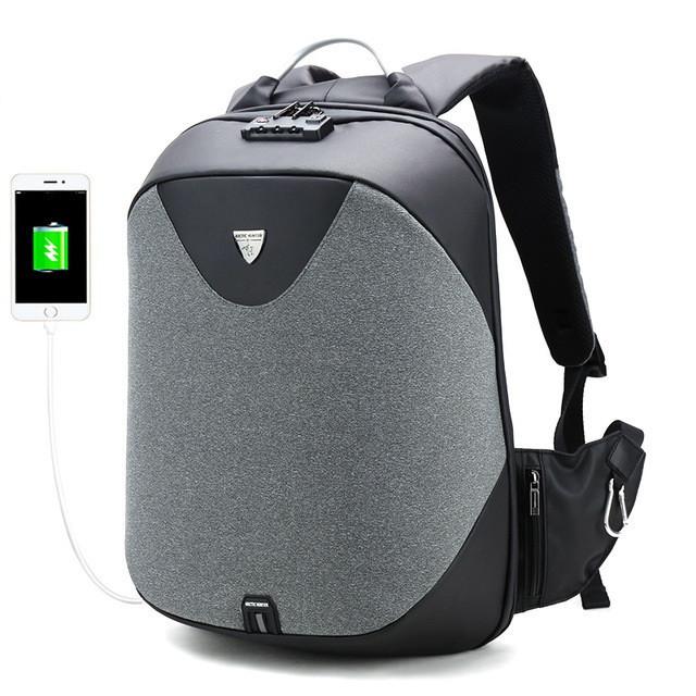 Стильный рюкзак для ноутбука Arctic Hunter B00208, многофункциональный, с кодовым замком, 24л Темно-серый