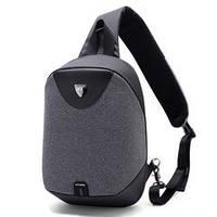 Стильный однолямочный рюкзак Arctic Hunter XB00049 для бизнеса и путешествий, влагозащищённый, 8л Темно-серый