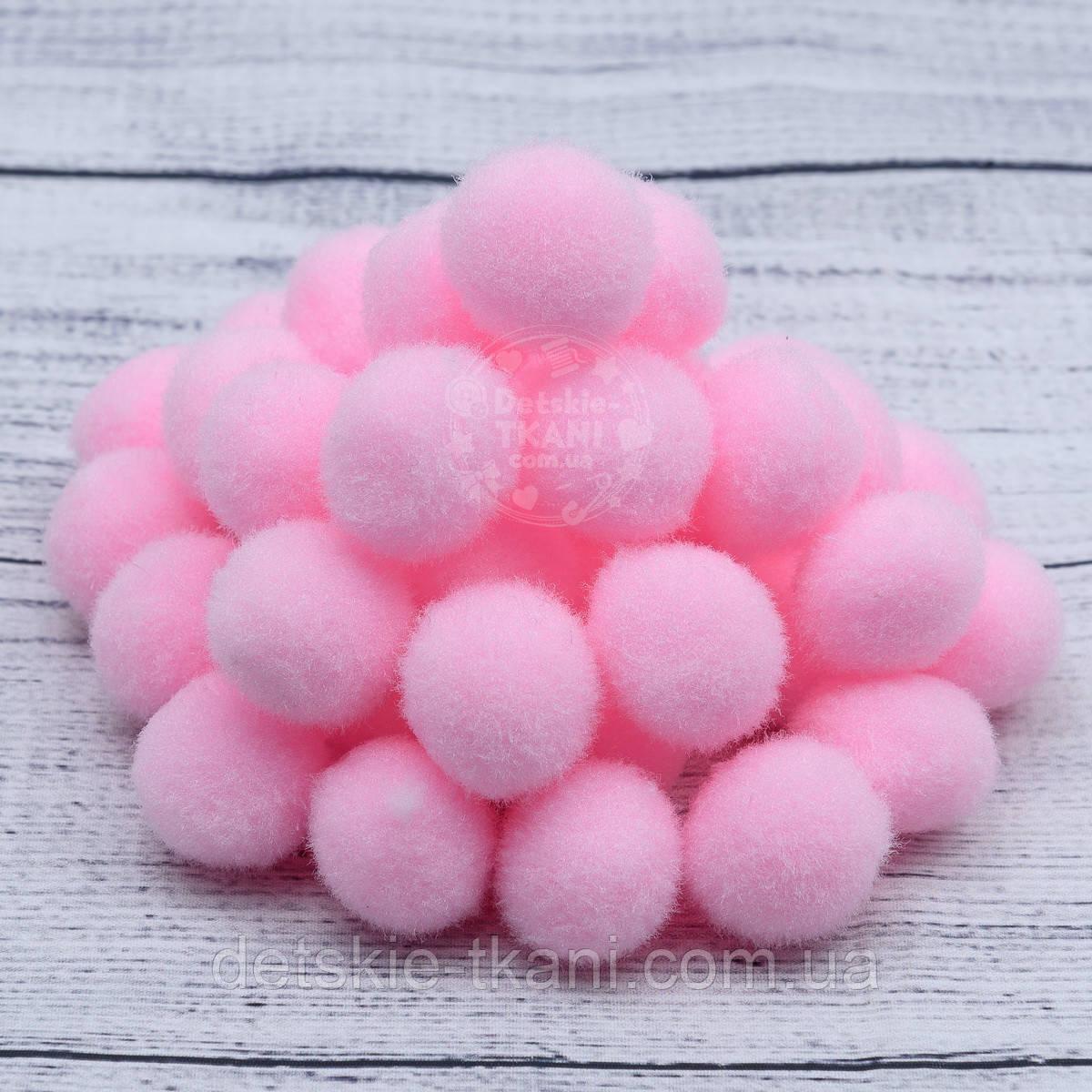 Плюшевые помпоны  розового цвета 20 мм, упаковка 20 шт