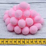 Плюшевые помпоны  розового цвета 20 мм, упаковка 20 шт, фото 3