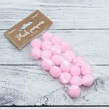 Плюшевые помпоны  розового цвета 20 мм, упаковка 20 шт, фото 4