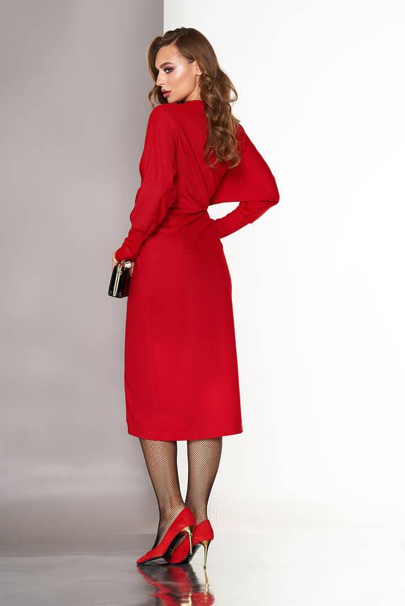 Нарядное вечернее платье халат с запахом красное, фото 2