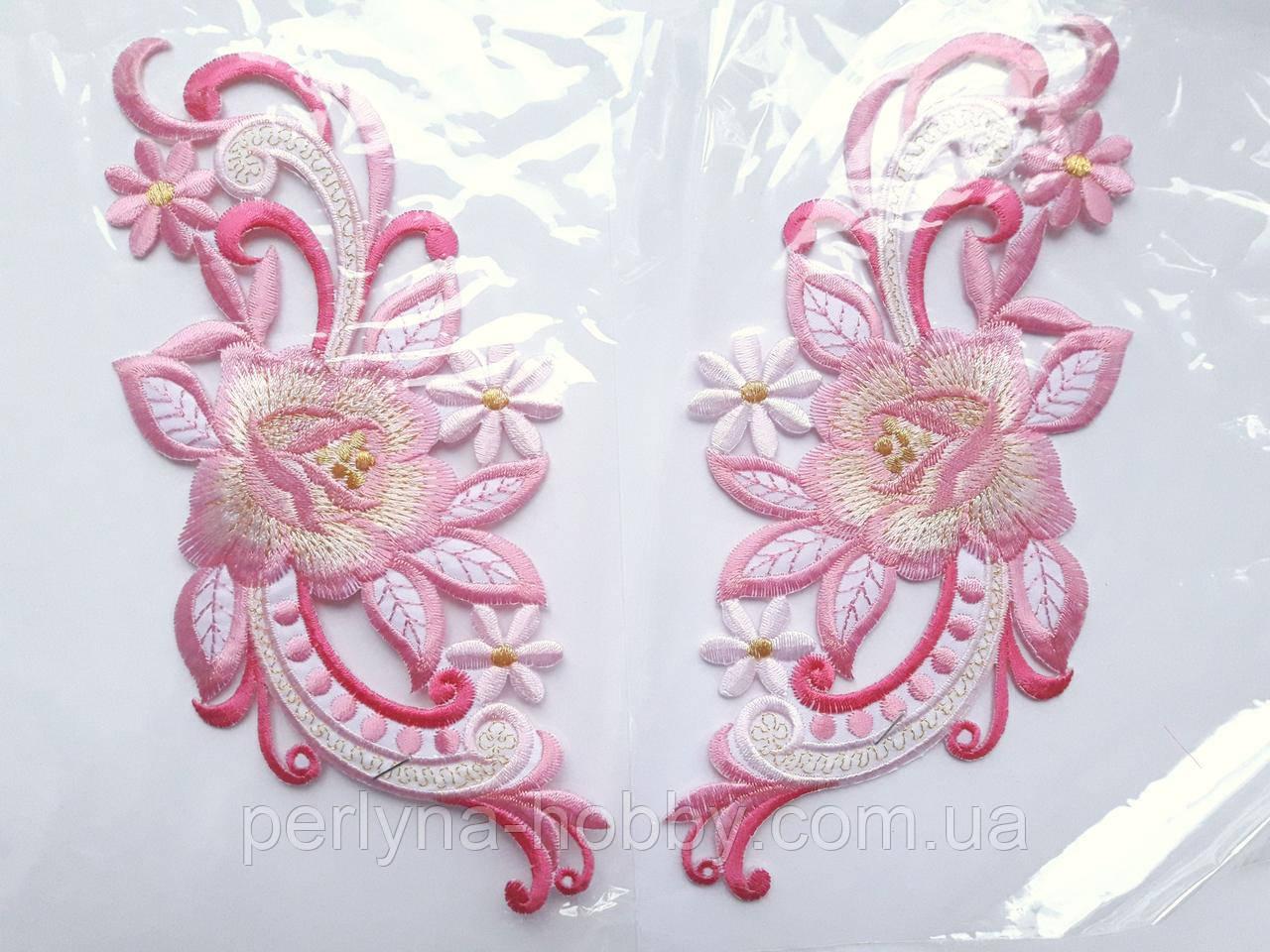 """Аплікація вишивка клейова  """"Квіти"""" рожеві, 19 см  1пара"""