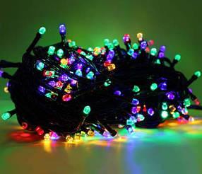 Гирлянда Led 100 Цветная черный провод Рубинка ( гирлянда на елку )
