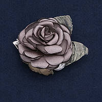 """Брошь с цветком """"Роза серая"""" из ткани, диаметр 6см"""