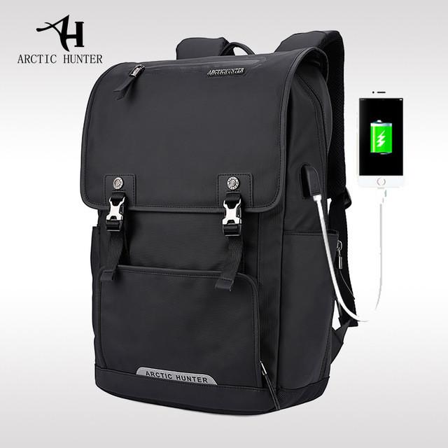 Классический деловой рюкзак для учёбы и бизнеса Arctic Hunter B00072, влагозащищённый, с USB портом, 22л