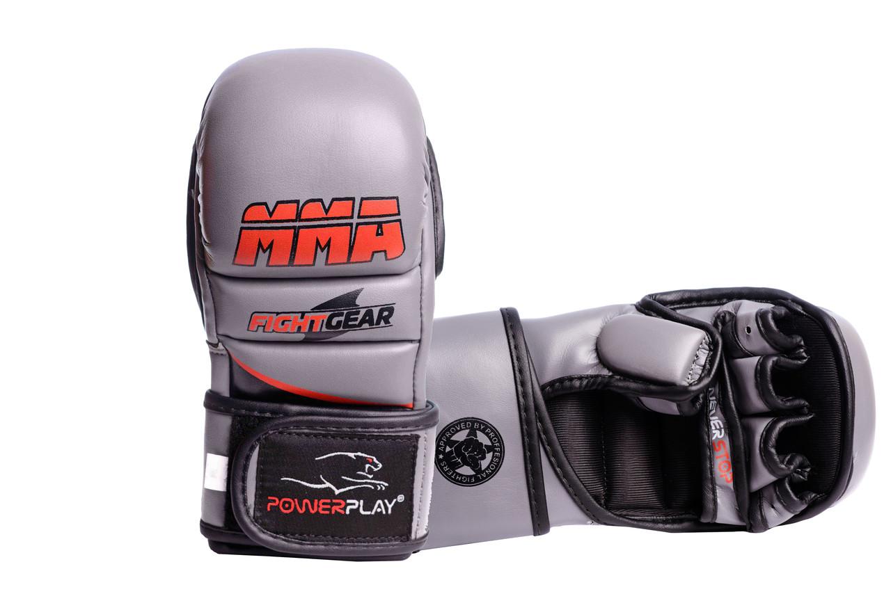 Рукавички для MMA PowerPlay 3026 Сірі XS