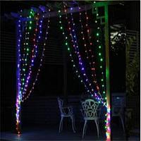 Гирлянда штора 3x6 м 600 LED синий, красный, желтый, зеленый