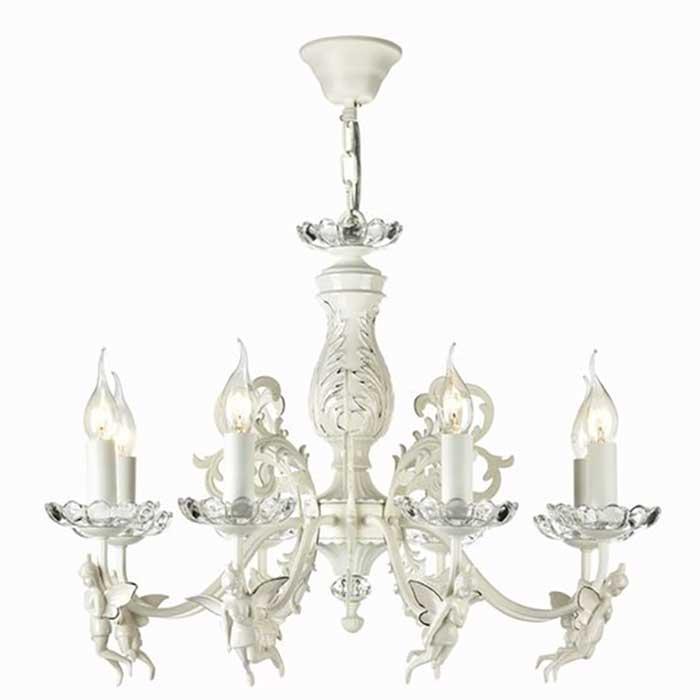 Подвесная люстра на 8 лампочек с ангелами
