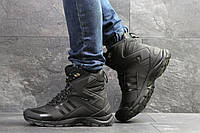 Мужские зимние ботинки на меху в стиле Adidas Climaproof, черные. Код товара Д - 6853