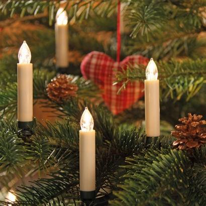 Новогодняя гирлянда свеча с клипсами на елку 15 шт. Беспроводные
