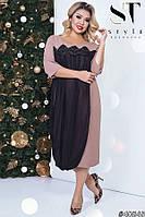 Лаконичное платье с шифоновой накидкой с 48 по 58 размер, фото 1