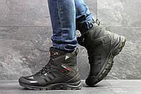 Мужские зимние ботинки на меху в стиле Adidas Climaproof, черные. Код товара Д - 6855