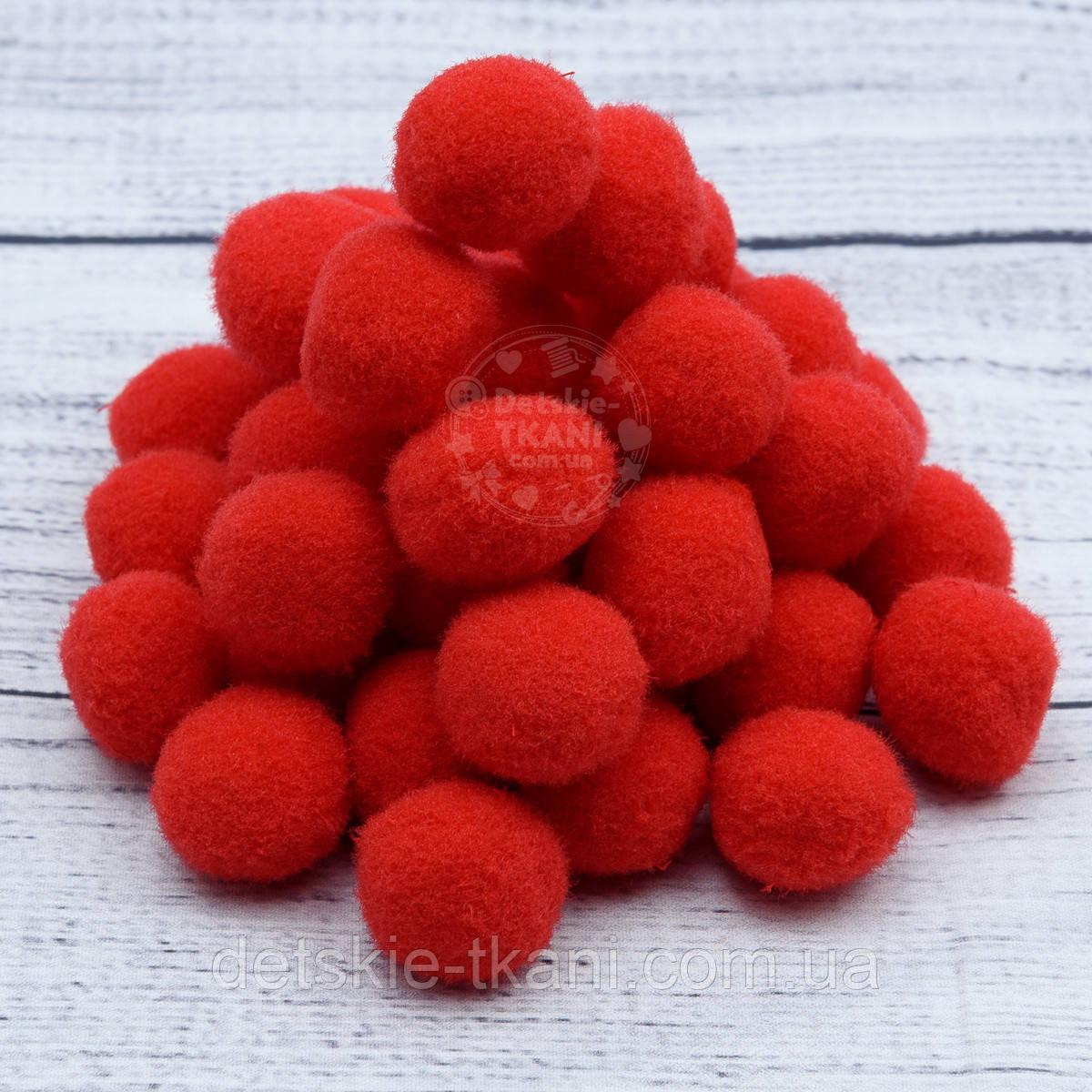 Плюшевые помпоны  красного цвета 20 мм, упаковка 20 шт
