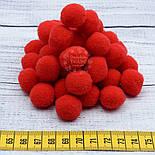 Плюшевые помпоны  красного цвета 20 мм, упаковка 20 шт, фото 3