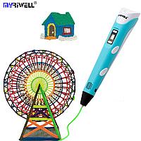 3D Ручка для детей Оригинальная 3Д Myriwell RP-100B Pen с LCD дисплеем второго поколения бирюзовая
