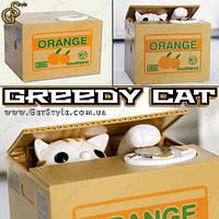 "Копилка Хитрый котик - ""Greedy Cat"" - 12 х 10 см., фото 1"