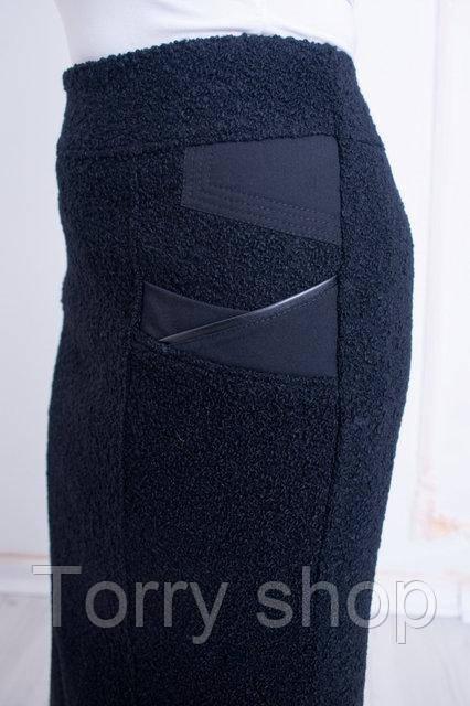 Женская длинная утепленная  юбка букле, черного цвета
