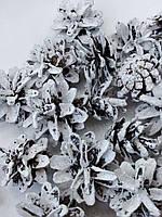 Шишки натуральные БЕЛЫЕ с глитером 10 шт., фото 1