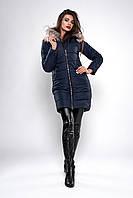 Зимняя женская молодежная куртка. Код К-129-62-19. Цвет темно синий.