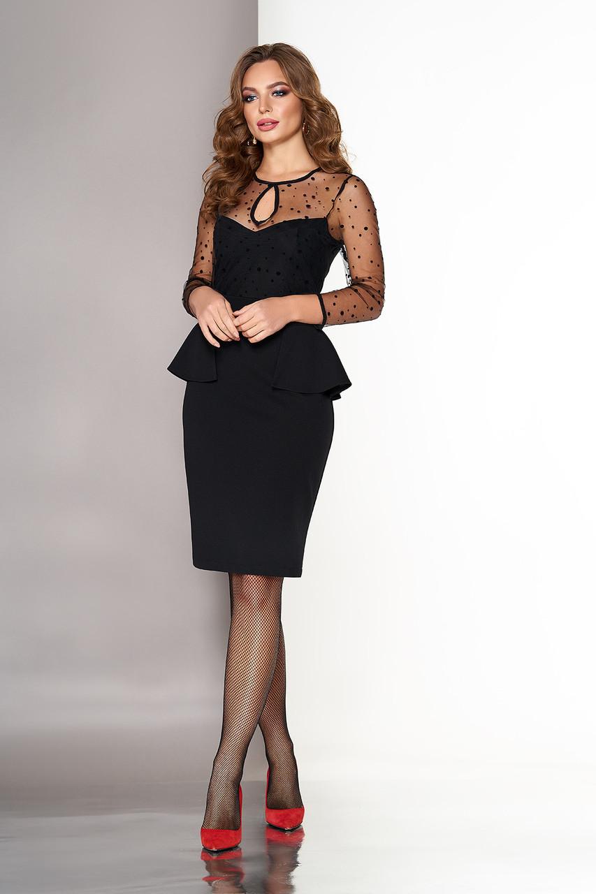 Модное коктейльное платье с баской черное