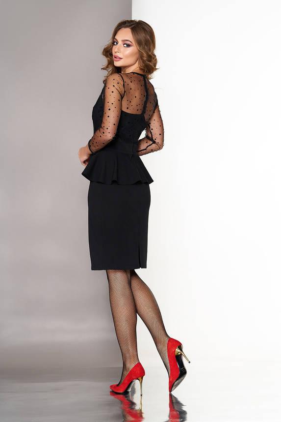 Модное коктейльное платье с баской черное, фото 2