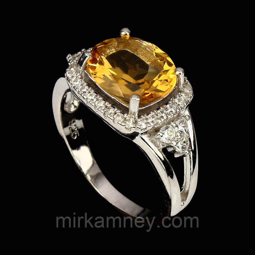 Шикарное кольцо с крупным 100% натуральным Бразильским цитрином размер 17,5. Серебро, позолота