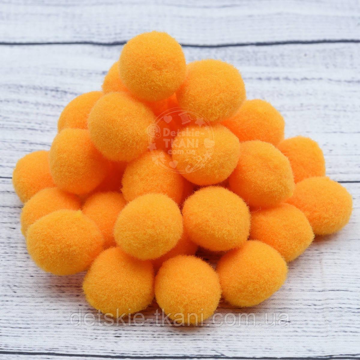 Плюшевые помпоны оранжевого цвета 20 мм, упаковка 20 шт