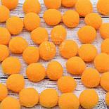 Плюшевые помпоны оранжевого цвета 20 мм, упаковка 20 шт, фото 3