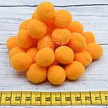 Плюшевые помпоны оранжевого цвета 20 мм, упаковка 20 шт, фото 4