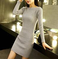 Женское платье туника машинная вязка серое