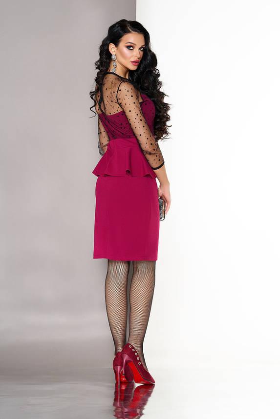 Коктейльное платье миди модное с баской вишня, фото 2