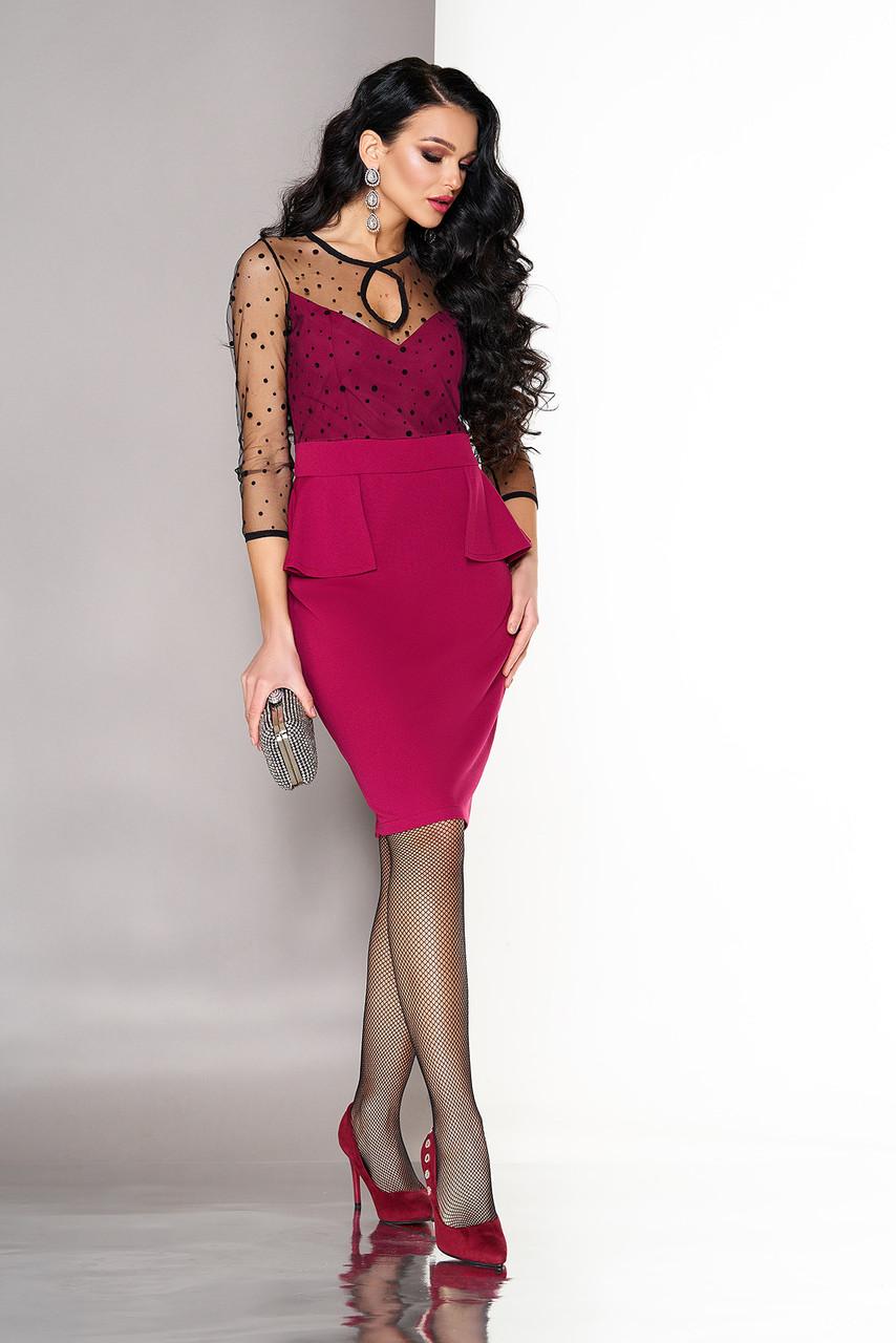 Коктейльное платье миди модное с баской вишня