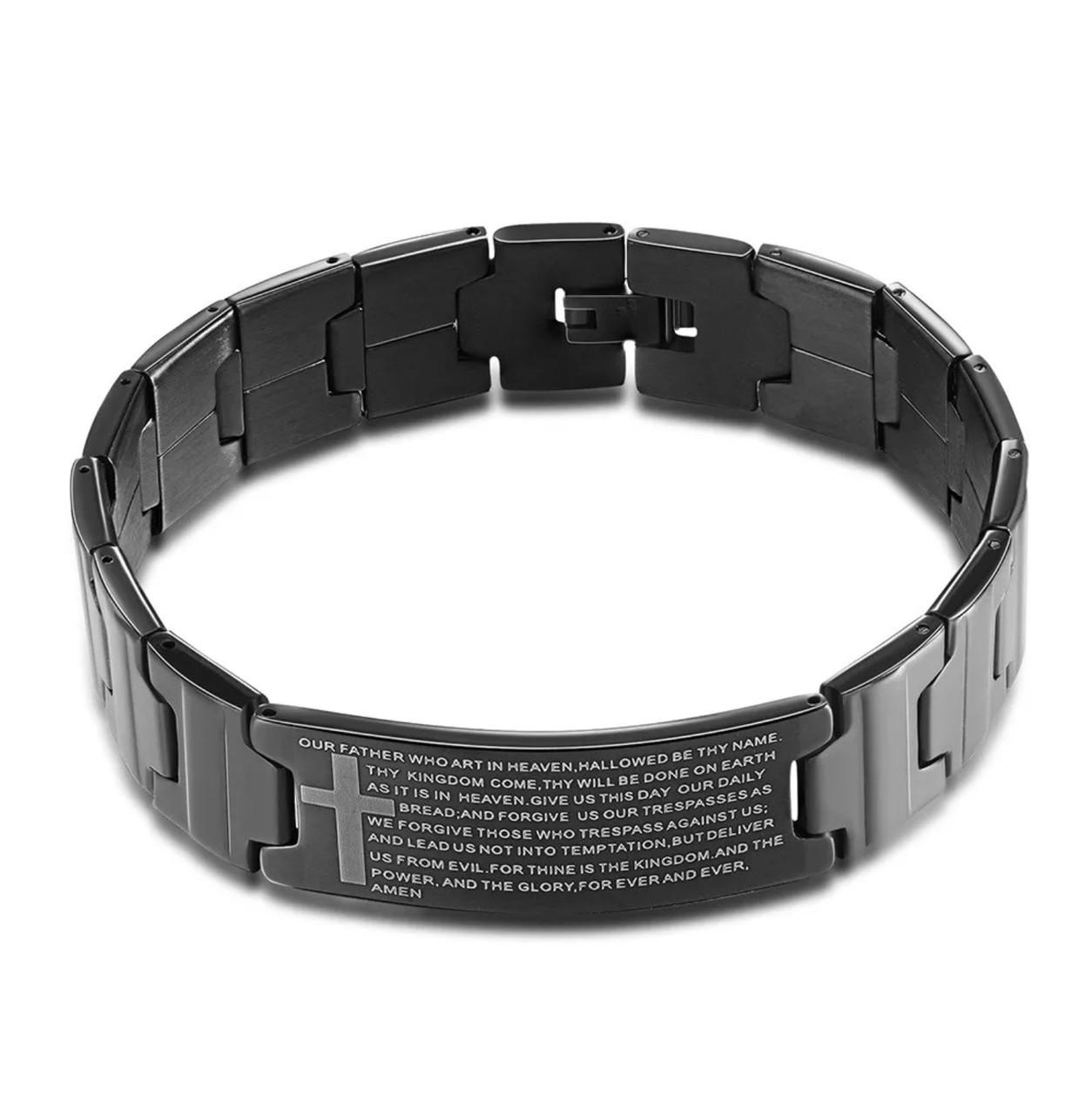 Наручный браслет с молитвой из нержавеющей стали «Amen» (черный)