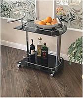 Сервировочный столик W-27 (SC-5066-BG), стеклянная сервировочная тележка черная