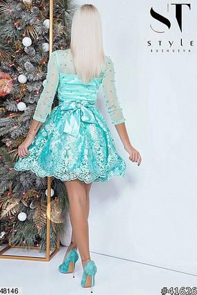 Модное платье мини юбка солнце клеш рукав три четверти бусины мятное, фото 2