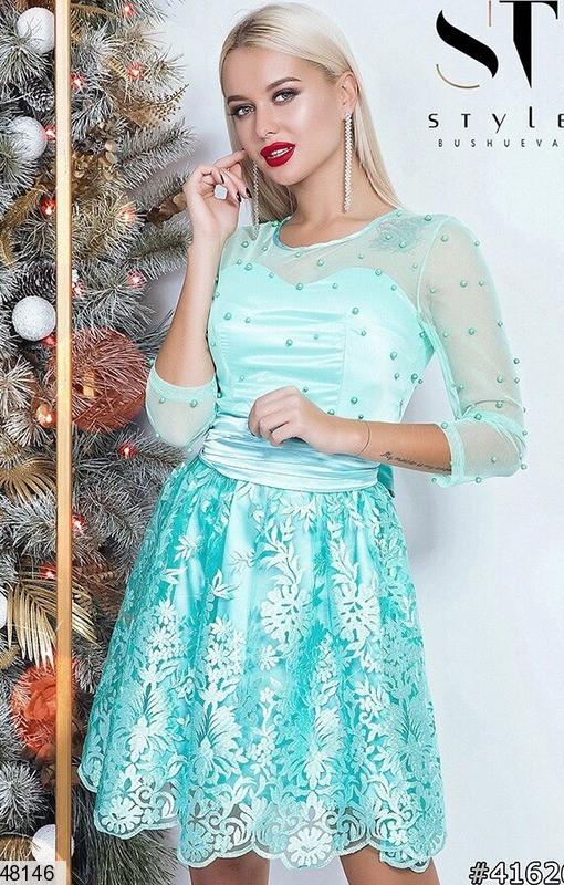 Модное платье мини юбка солнце клеш рукав три четверти бусины мятное