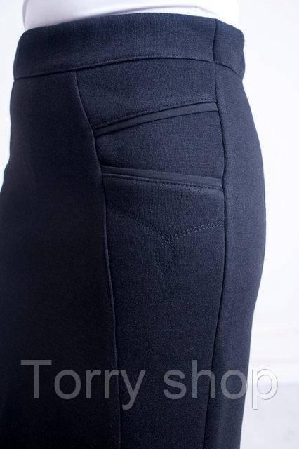 Женская плотная теплая трикотажная юбка , черного цвета