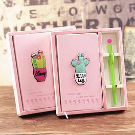 Блокнот и ручка Кактус в подарочной упаковке