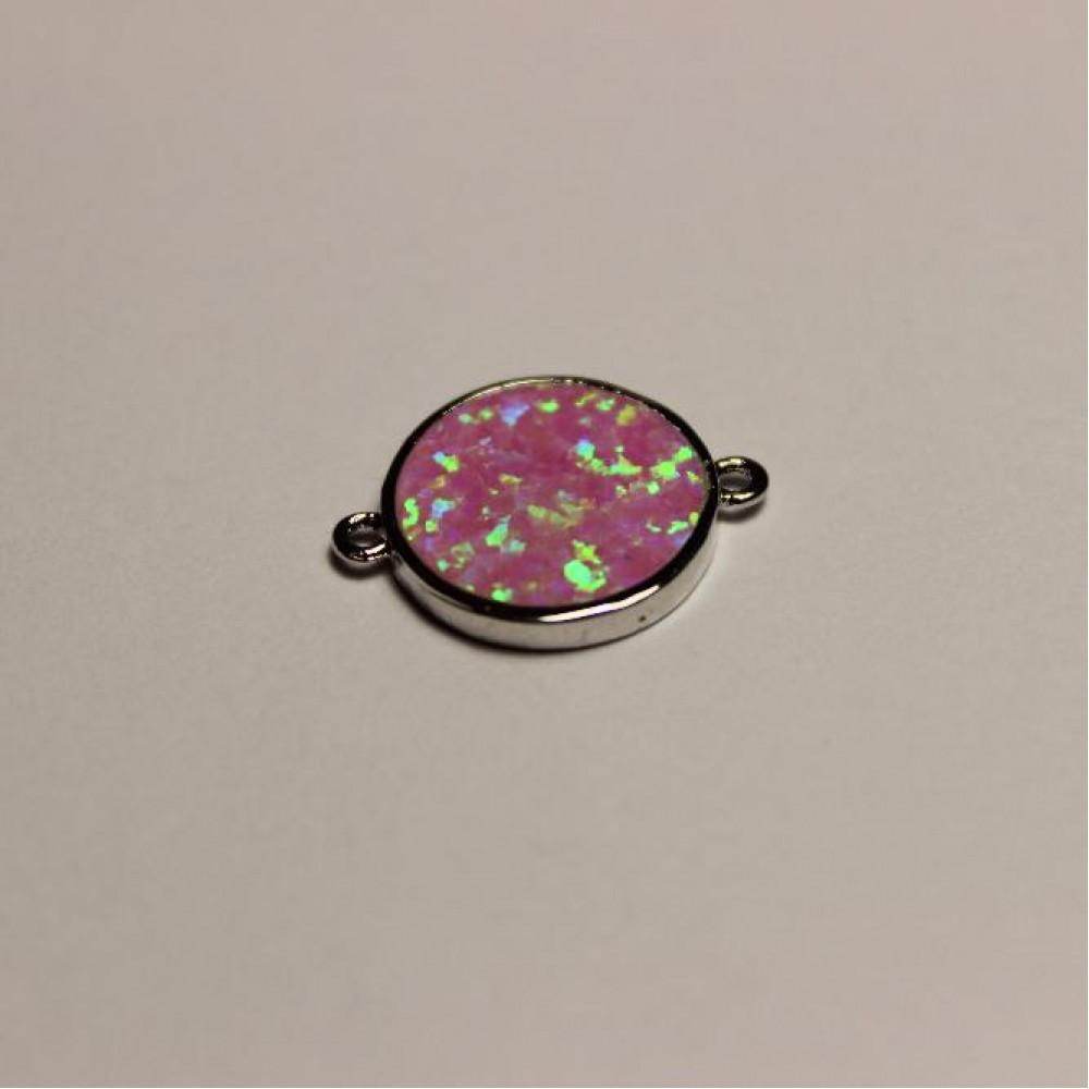 """Кулон """"Космос"""" натуральный розовый Опал, диаметр 13мм коннектор серебристый металл фурнитура"""