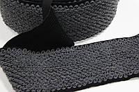 Резинка декоративная 120мм (25м) черный+т.серый